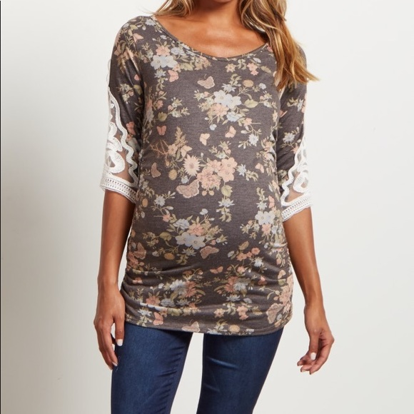 9eb29f7a8a167 Charcoal Floral Crochet Sleeve Maternity Top. M_5a9f8e178df4709cbee065ff
